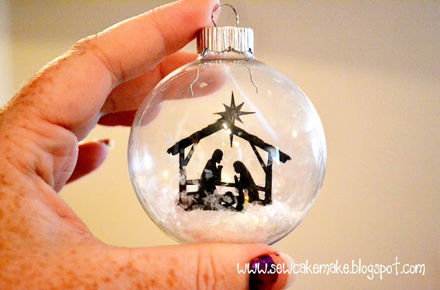 Glass Ornaments with Nativity Scene