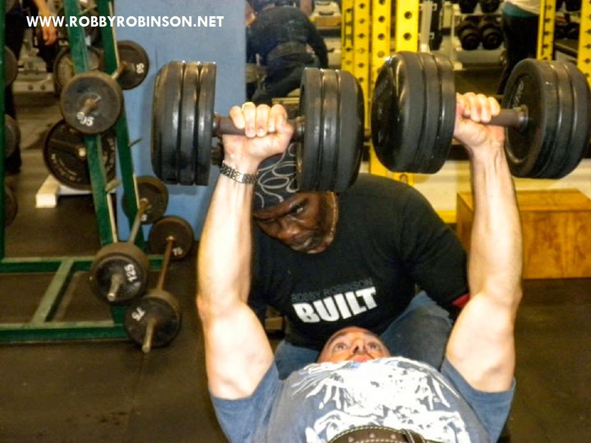 Garry Casaccio - heavy dumbbell training with Robby Robinson ● www.robbyrobinson.net//dvd_master_class.php ●
