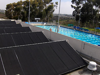 A large Heliocol solar pool heating installation saves money while keeping the outdoor pool at UC San Diego warm and comfortable.