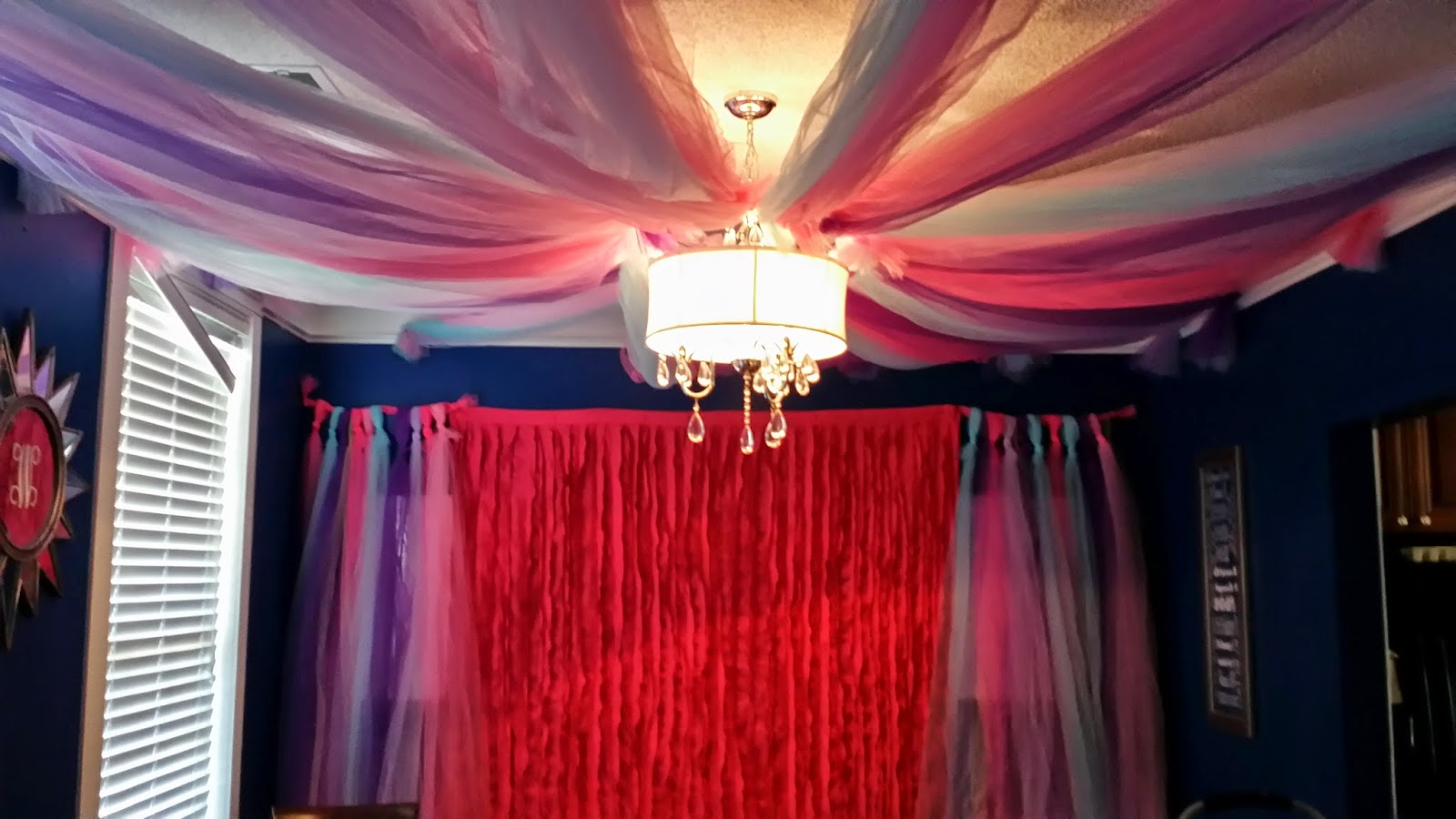 Making a tulle canopy. We used a small hula hoop from the dollar store and 6 bolts of 54inches by 120 feet of tulle. I cut them down to about 10 feet ... & Tulle Canopy