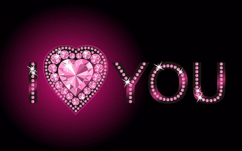 I Love You In Heart and Crystal Shinning with Purple Theme Wallpaper