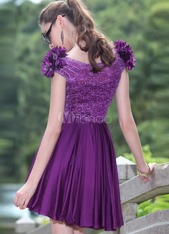 China Wholesale Dresses - Cute Lavender Satin Flower Shoulder Homecoming Dress