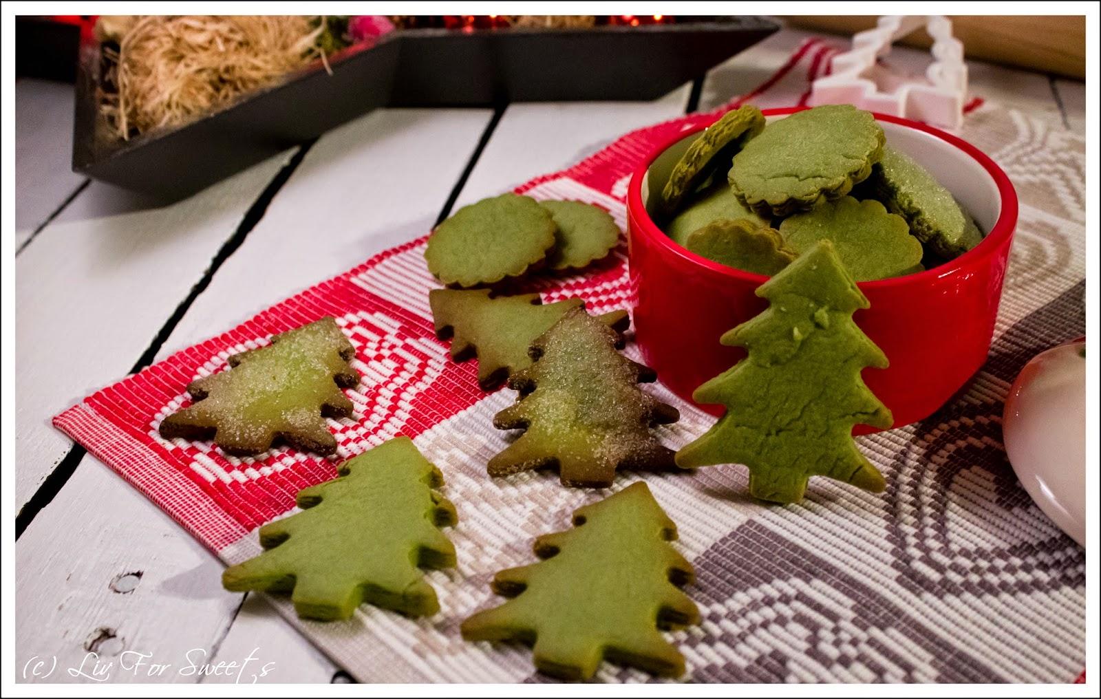 Matcha Kekse, Tannebäume, Kreise, Weihnachtsdose, Rezept, Plätzchen, Thermomix