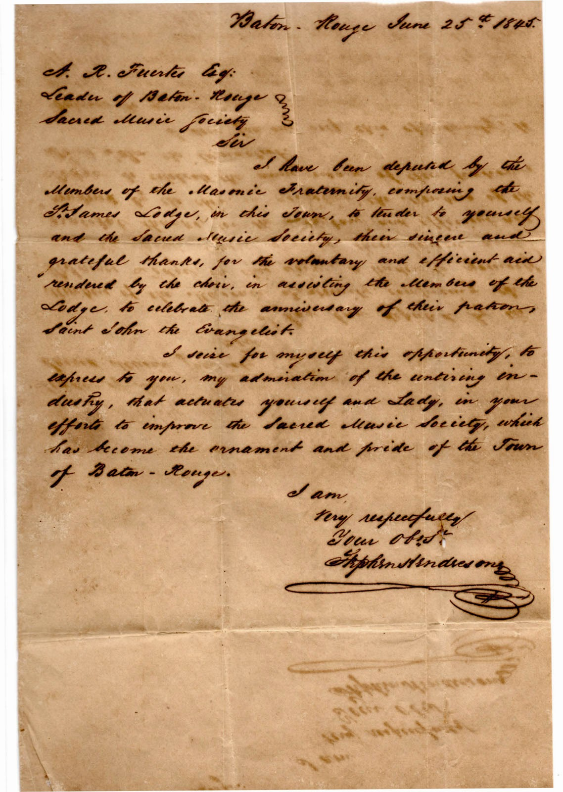 Letter from Hendreson to Fuertes 1845, belletisdale.blogspot.com