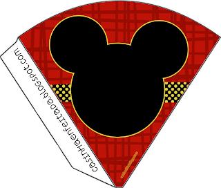 Kit Festa Mickey Preto Vermelho e Amarelo Para Imprimir Grátis