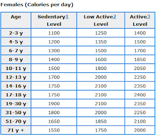 What is the calorie intake for a man / Men day program