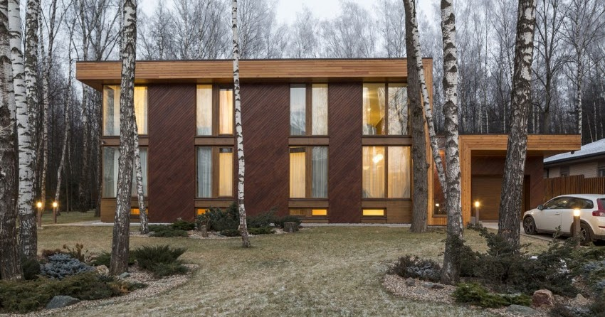 Classic home design modern house in birch forest by for Classic house akasaka