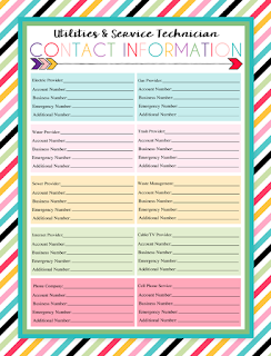 Free Printable Utility Provider Contact Sheet | This is a part of a series of over 30 free organizational printables from ishouldbemoppingthefloor.com | Three Designs & Instant Downloads