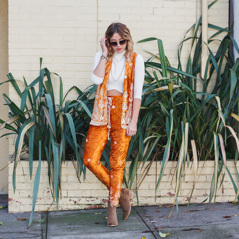 Rock and Roll Bohemian Jimi Hendrix 60's 70's style. Bohemian Velvet burnout vest and lace up pant set with embroidery detail from Lenni The Label Australian Fashion Brand on Fashion Blogger Bryn Newman of San Francisco California blog, stone fox style.