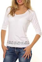 Bluza alba din jerse cu imprimeu labirint model B0003 (Ama Fashion)