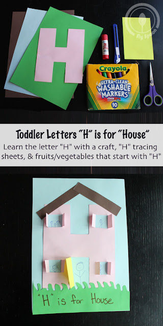 Toddler/Preshooler letter of the week craft H is for House with related craft, tracing sheets and fruits/vegetables.