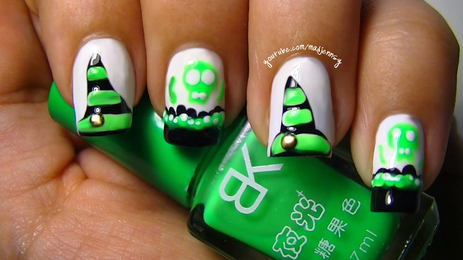 Poisonous Skulls and Witch Hat Nail Art (Glow in the dark mani ...