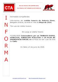 C.T.A. INFORMA CRÉDITO HORARIO ANTONIO PÉREZ, MAYO 2020