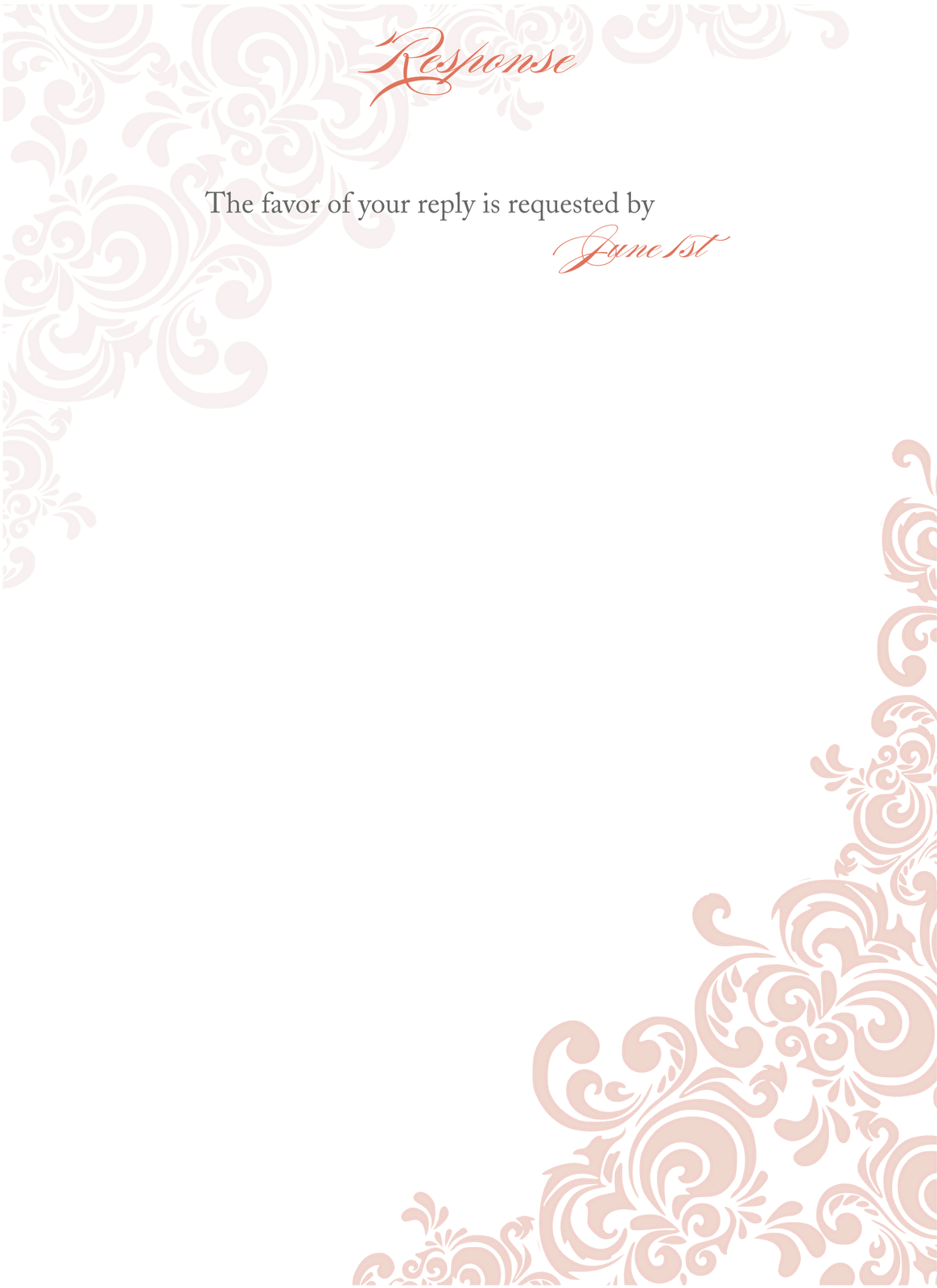 blank wedding invitation templates floral curves ideas