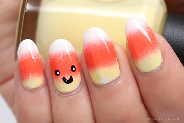 manicure monday candy corn halloween