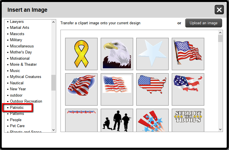Patriotic Clip Art Images in the Online Designer | Banners.com