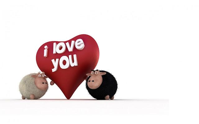 Liefde achtergrond met schapen en een hartje met de tekst I love you