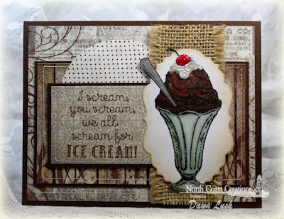North Coast Creations Stamp set: Ice Cream, Our Daily Bread Designs Custom Dies: Matting Circles, Vintage Labels, Our Daily Bread Designs Vintage Ephemera Paper Collection