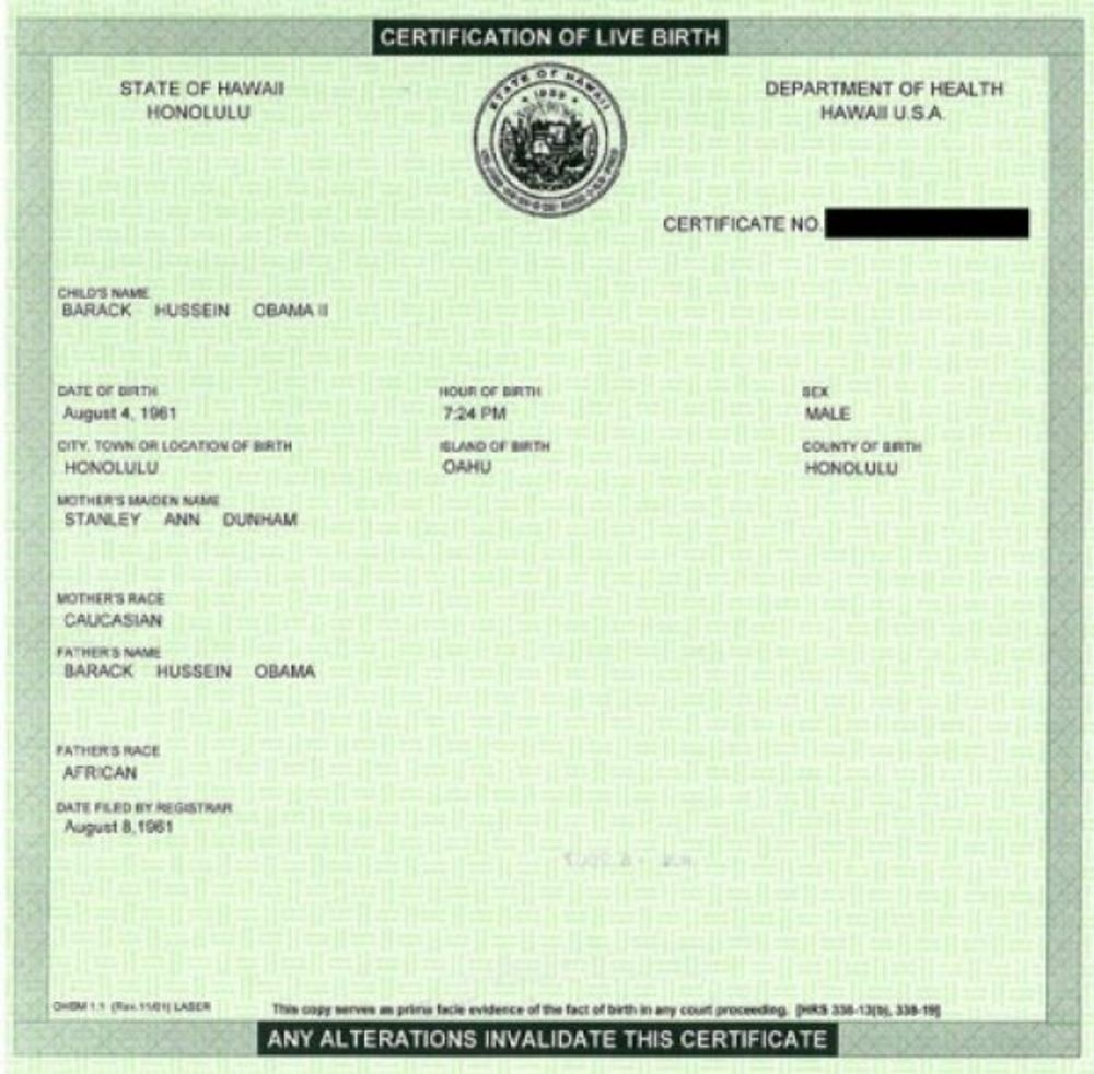 What on earth exposing the birth certificate lies used to cover image taken from obamas fight the smears website identified as his birth certificate but lacking in details such as a doctors signature 1betcityfo Image collections