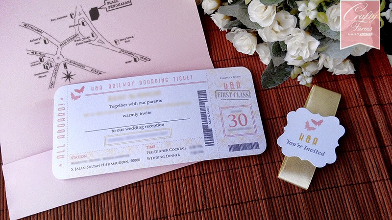 Pink Blush and Cream Boarding Pass Wedding Card