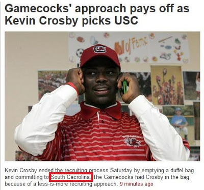 South Carolina newspaper can't spell South Carolina.