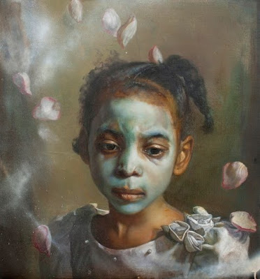 Margaret Bowland, Flower Girl, Krylon and Tar on Linen, 28
