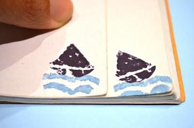 sellos tallados corcho barquito y mar