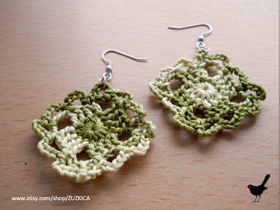 Crochet Green Square Earrings