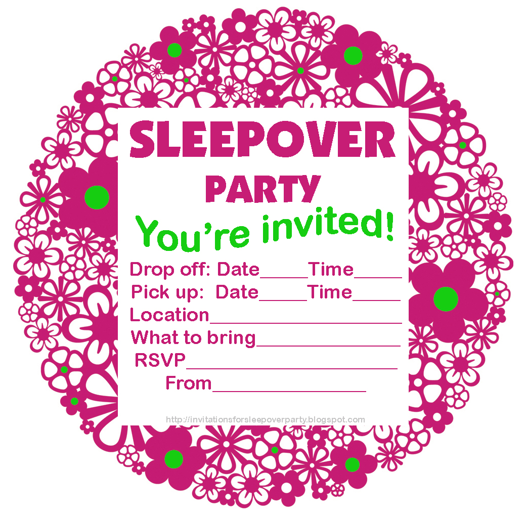 free printable sleepover invitations