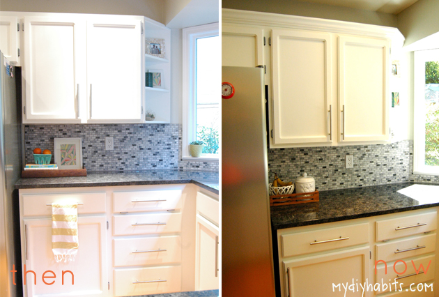 my{DIY}habits: Adding Crown to Cabinets || Instant Upgrade