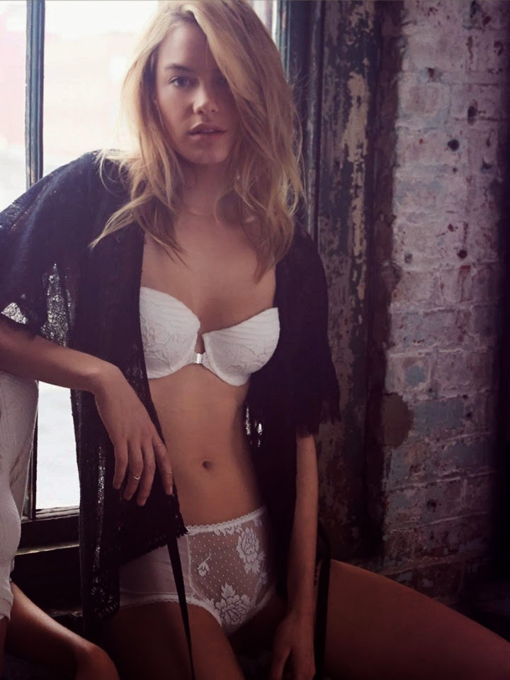 Camille Rowe poses for the Free People Lingerie Lookbook August 2014