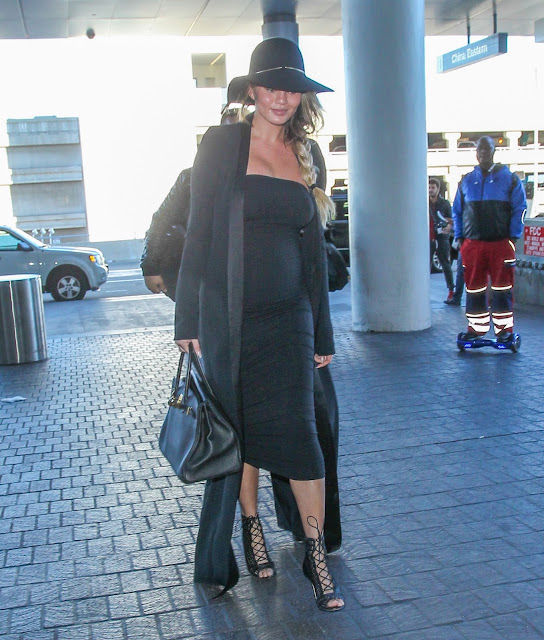 Actress, Model, @ Chrissy Teigen departing from LAX