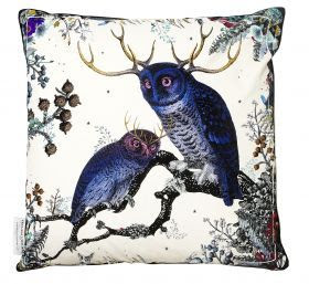 Twin Owls Cushion by Kristjana S Williams - Rume