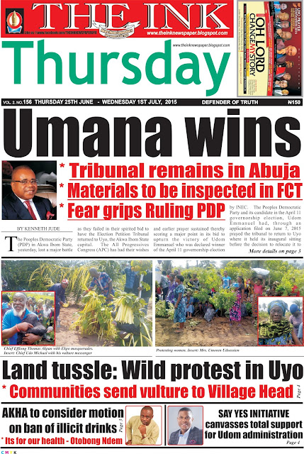 Latest Edition of THE INK Newspaper, Uyo, Akwa Ibom State, Nigeria
