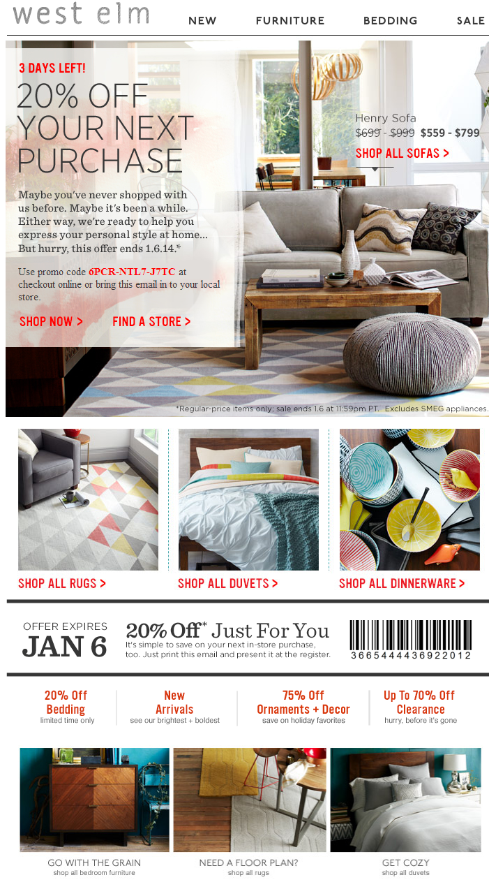 printable coupons west elm printable coupon. Black Bedroom Furniture Sets. Home Design Ideas