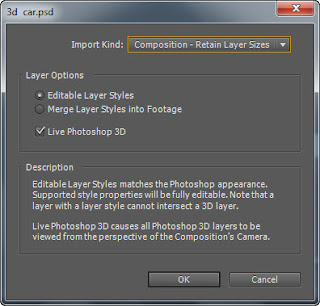 Ae setting before importing 3d file
