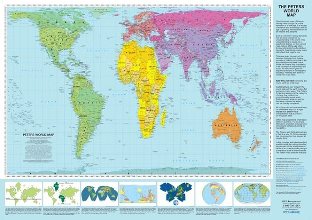 Peters Projection World Map tries to capture the real relative sizes