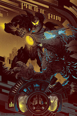 San Diego Comic-Con 2013 Exclusive Pacific Rim Gold Variant Screen Print by Kevin Tong
