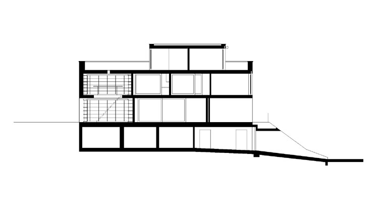 Side plan of The L House by Philippe Stuebi Architekten GMBH
