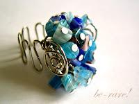 pierścionki wire wrapping niebieskie millefiori
