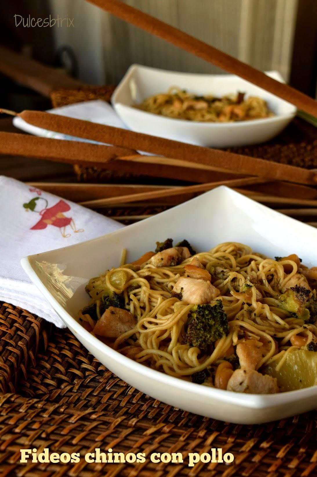 Fideos chinos con pollo-Dulcesbtrix