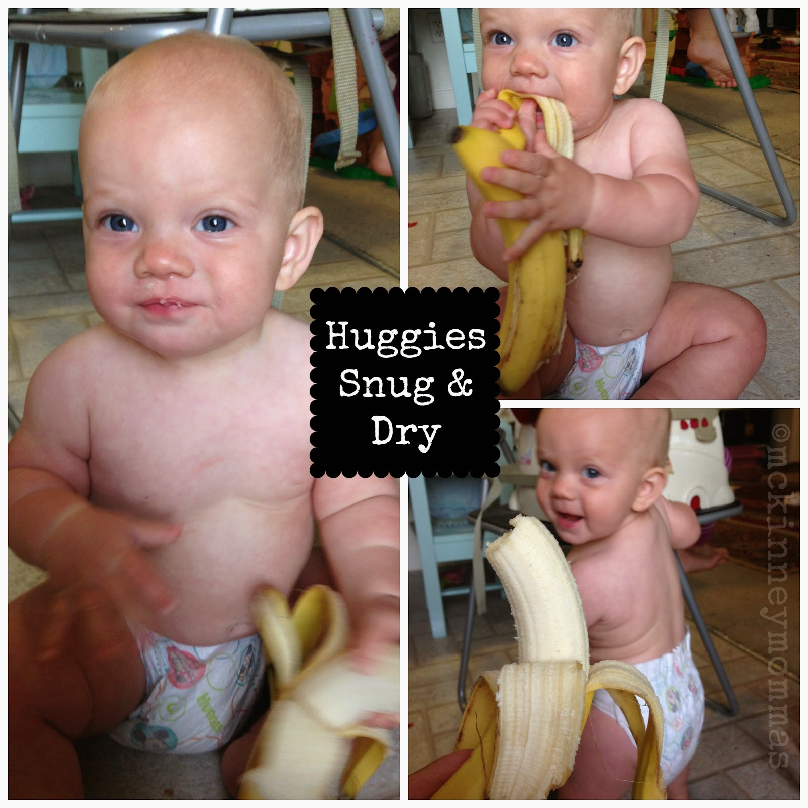 huggies diapers, snug & dry, natural care wipes, baby holding banana