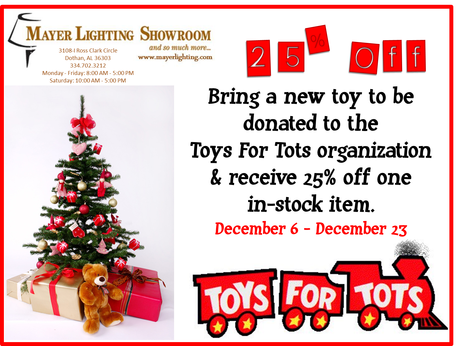 Mayer Lighting Showroom Toys For Tots Get 25 Off DOTHAN LOCATION ONLY