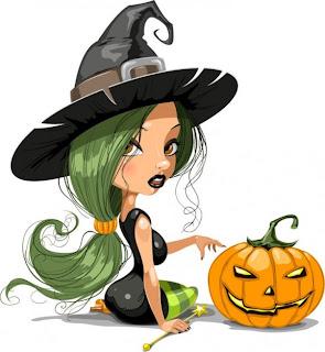 bruja de halloween con calabaza