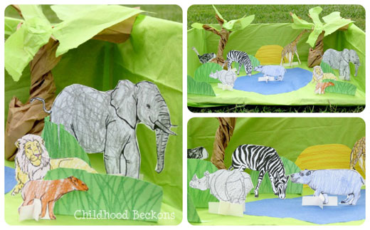 simple african safari small world set up