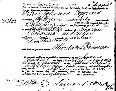 Birth certificate of Hendrikus Franciscus Coppens