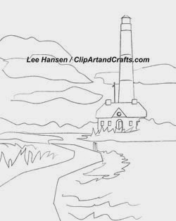 Lighthouse sketch drawing for art classes or adult coloring