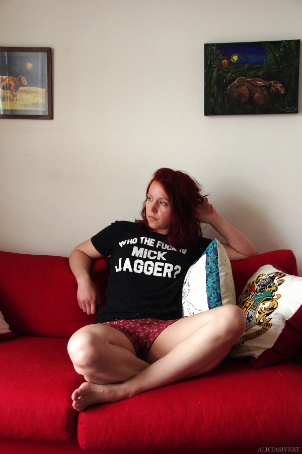 aliciasivert, alicia sivertsson, alicia sivert, shorts, monthly makers, juni, mönster, sy, sömnad, diy, who the fuck is mick jagger t-shirt