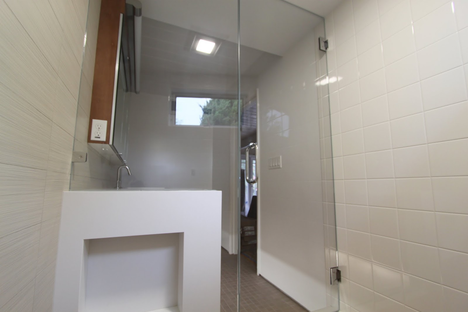 Shower Doors And Paint In Mid Century Modern Bathroom Remodel Mid