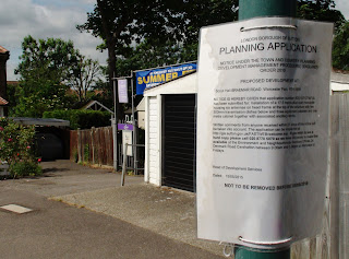 Planning Application Notice for phone mast outside 4th Worcester Park Scouts' Headquarters.